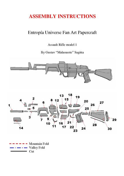 File Papertropia Papercraft Assault Rifle Model 1 Assembly